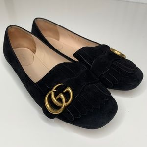 Gucci Marmont Suede Fringe Loafer Flats Size 7.5
